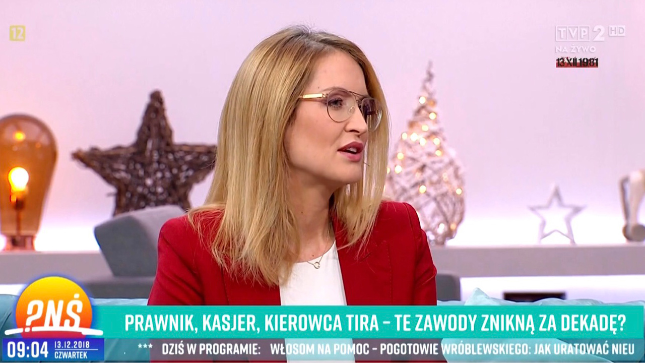 Natalia Bogdan, CEO Jobhouse.pl, on TV talking about jobs in Tricity Poland.